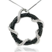 1.05ct tw Black and White Diamond Circle Pendant
