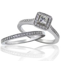 .54ct.tw 14k Diamond Halo Engagement Ring Set