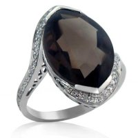 8ct. Smokey Quartz & .20ct tw. Diamond Ring