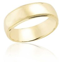 7 mm Yellow gold flat band with milled edge
