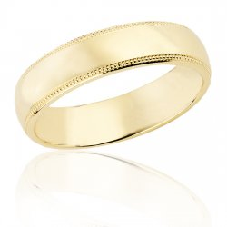5 mm Yellow gold half round band with milled edge