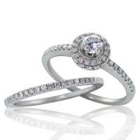 .59ct.tw 14k Diamond Halo Engagement Ring Set
