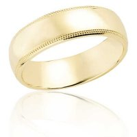 6 mm Yellow gold half round band with milled edge