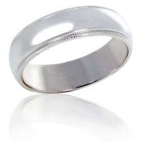 6 mm White gold half round band with milled edge