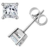 .55ct. tw. Princess Cut Diamonds Studs